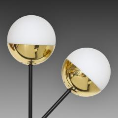 Stilnovo Pair of Modernist Brass and Opaque Glass Sconces by Stilnovo - 2067759