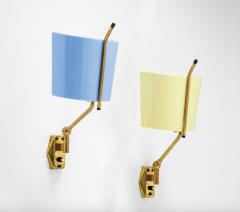 Stilnovo Pair of sconces in yellow and blue by Stilnovo - 1408526