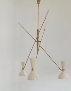 Stilnovo Patinated brass and Ivory Adjustable Three Arm Triennale Style Chandelier - 1091427