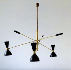 Stilnovo Patinated brass and Ivory Adjustable Three Arm Triennale Style Chandelier - 1091430