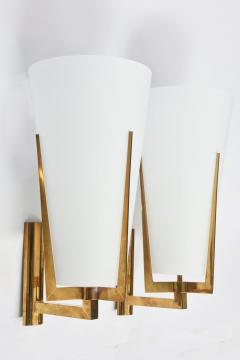 Stilnovo Set of Four Large Stilnovo Brass and Frosted Glass Wall Lights Italy - 2056088