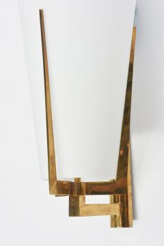 Stilnovo Set of Four Large Stilnovo Brass and Frosted Glass Wall Lights Italy - 2056090