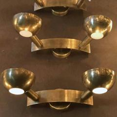 Stilnovo Set of Four Rare Vintage w polished brass and frosted glass lenses - 2035631
