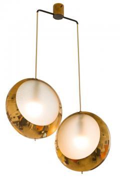 Stilnovo Stilnovo Brass Textured Glass Double Pendant Light Italy 1950s - 2066771