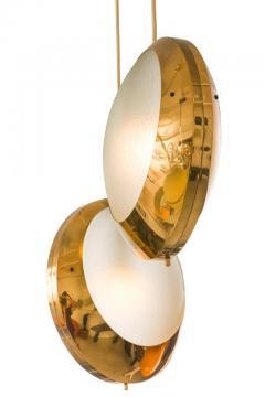 Stilnovo Stilnovo Brass Textured Glass Double Pendant Light Italy 1950s - 2066772