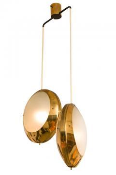 Stilnovo Stilnovo Brass Textured Glass Double Pendant Light Italy 1950s - 2066773
