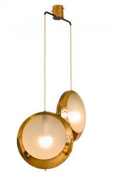 Stilnovo Stilnovo Brass Textured Glass Double Pendant Light Italy 1950s - 2066774