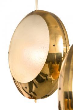 Stilnovo Stilnovo Brass Textured Glass Double Pendant Light Italy 1950s - 2066775