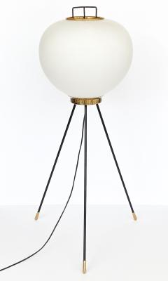 Stilnovo Stilnovo Brass and Opaline Glass Tripod Floor Lamp - 1392307