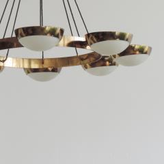 Stilnovo Stilnovo Chandelier in Brass and Glass Italy 1950s - 1578055