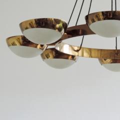 Stilnovo Stilnovo Chandelier in Brass and Glass Italy 1950s - 1578056