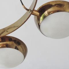 Stilnovo Stilnovo Chandelier in Brass and Glass Italy 1950s - 1578058