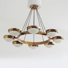 Stilnovo Stilnovo Chandelier in Brass and Glass Italy 1950s - 1578060