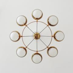 Stilnovo Stilnovo Chandelier in Brass and Glass Italy 1950s - 1578061