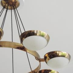 Stilnovo Stilnovo Chandelier in Brass and Glass Italy 1950s - 1578062