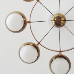 Stilnovo Stilnovo Chandelier in Brass and Glass Italy 1950s - 1578063