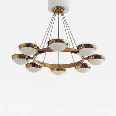 Stilnovo Stilnovo Chandelier in Brass and Glass Italy 1950s - 1580325