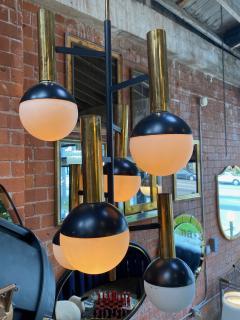 Stilnovo Stilnovo Midcentury Brass 5 Opaline Glass Chandelier Italy circa 1955 - 1217378