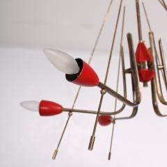 Stilnovo Stilnovo Sputnik Dazzling RED Futuristic Solid Brass Chandelier Lamp Italy 1950s - 1697975