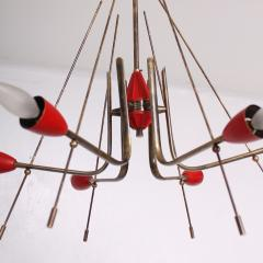 Stilnovo Stilnovo Sputnik Dazzling RED Futuristic Solid Brass Chandelier Lamp Italy 1950s - 1697976