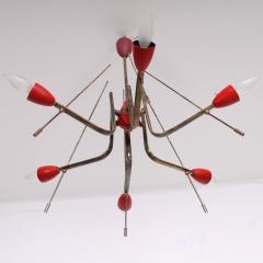 Stilnovo Stilnovo Sputnik Dazzling RED Futuristic Solid Brass Chandelier Lamp Italy 1950s - 1697980