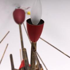 Stilnovo Stilnovo Sputnik Dazzling RED Futuristic Solid Brass Chandelier Lamp Italy 1950s - 1697981