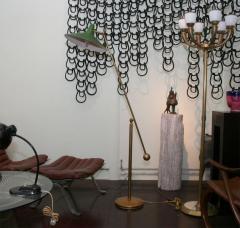 Stilnovo Stilnovo Style Italian Brass Floor Lamp with Green Shade - 758794