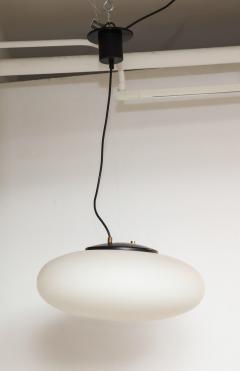 Stilnovo Stilnovo White Glass Suspension Light UFO Chandelier Italy c 1950 60 s - 1246535