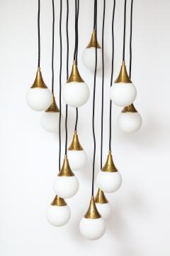 Stilnovo Stilnovo cascading chandelier with twelve opaline glass ball lights - 1023188