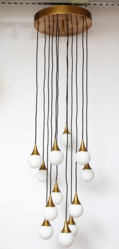 Stilnovo Stilnovo cascading chandelier with twelve opaline glass ball lights - 1023190