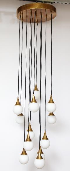Stilnovo Stilnovo cascading chandelier with twelve opaline glass ball lights - 1023192