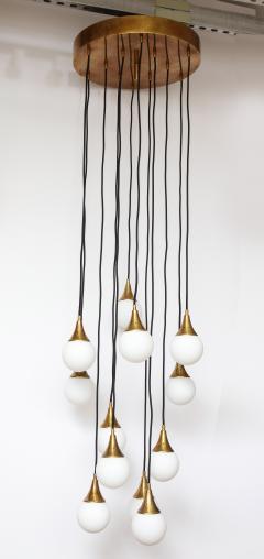 Stilnovo Stilnovo cascading chandelier with twelve opaline glass ball lights - 1023193