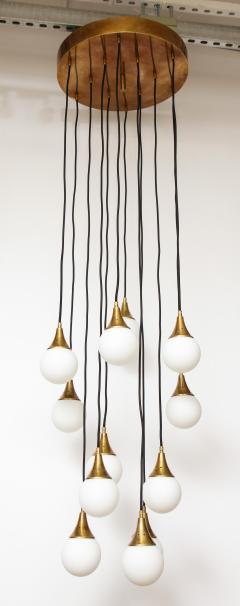 Stilnovo Stilnovo cascading chandelier with twelve opaline glass ball lights - 1023194