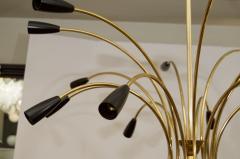 Stilnovo Stunning Black Enamel and Brass Stilnovo Style Chandelier - 139104