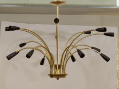 Stilnovo Stunning Black Enamel and Brass Stilnovo Style Chandelier - 139106