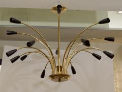 Stilnovo Stunning Black Enamel and Brass Stilnovo Style Chandelier - 139107
