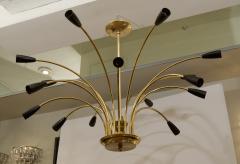 Stilnovo Stunning Black Enamel and Brass Stilnovo Style Chandelier - 139108