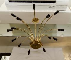 Stilnovo Stunning Black Enamel and Brass Stilnovo Style Chandelier - 139109