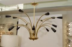 Stilnovo Stunning Black Enamel and Brass Stilnovo Style Chandelier - 139110