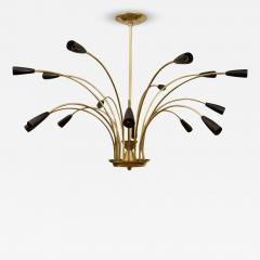 Stilnovo Stunning Black Enamel and Brass Stilnovo Style Chandelier - 140092