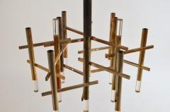 Stilnovo Twelve Segment Patinated Nickel and Lucite Chandelier by Gaetano Sciolari - 947536