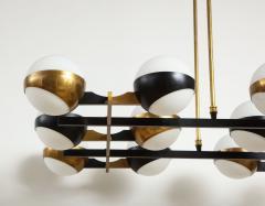 Stilnovo Twelve globe chandelier in black and brass - 1104129