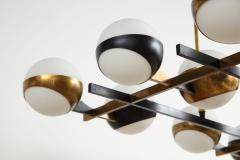 Stilnovo Twelve globe chandelier in black and brass - 1104130
