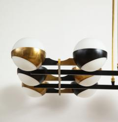 Stilnovo Twelve globe chandelier in black and brass - 1104131