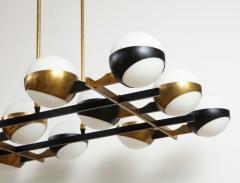 Stilnovo Twelve globe chandelier in black and brass - 1104132