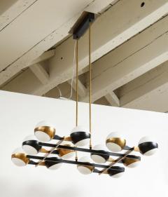 Stilnovo Twelve globe chandelier in black and brass - 1104134