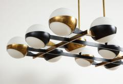Stilnovo Twelve globe chandelier in black and brass - 1104136