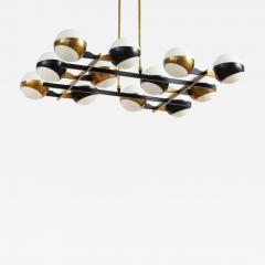 Stilnovo Twelve globe chandelier in black and brass - 1104202