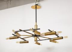 Stilnovo Vintage Mid Century Black and Brass Stilnovo Ceiling Light - 2057767