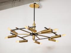Stilnovo Vintage Mid Century Black and Brass Stilnovo Ceiling Light - 2057769